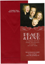 Product Image For Red and White Scroll Peace and Love