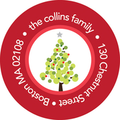 Product Image For Dotted Christmas Tree (Red) Label