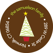 Product Image For Modern Christmas Tree Label
