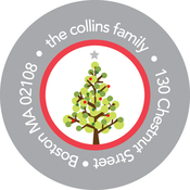Product Image For Dotted Christmas Tree (Gray) Label