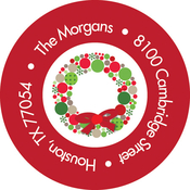 Product Image For Bright Christmas Wreath Label