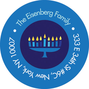 Product Image For Hanukkah Menorah & Stars Label