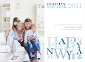 Product Image For New Year Letters Blue Digital Photo Card