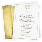 Product Image For Gold Foil Cross Communion Invitation