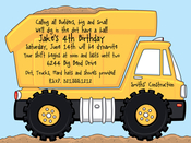 Product Image For Dump Truck Digital Invitation