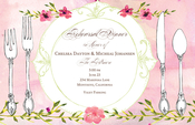 Product Image For Pink Floral Dinner Setting Invitation