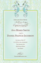 Product Image For Seahorse Blue Invitation