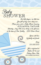 Product Image For Blue Baby Buggy Invitation