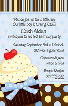 Product Image For Sweet Blue Cupcake Invitation