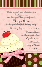 Product Image For Sweet Pink Cupcake Invitation