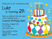 Product Image For Birthday Cake On Blue invitation
