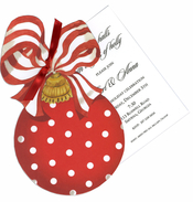 Product Image For Ornament with Striped Bow Die Cut Invitation