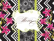 Product Image For Black Zigzag with Pink Fuchsias Note Card