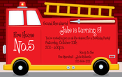 Product Image For Fire Truck Digital Invitation