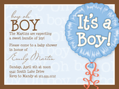 Product Image For It's A Boy Balloon Digital Invitation