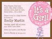 Product Image For It's A Girl Balloon Digital Invitation