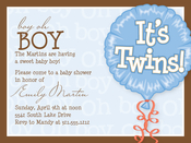 Product Image For Twins Blue Balloon Digital Invitation