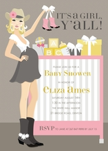 Product Image For Cowgirl Crib - Pink (Blonde) Invitation