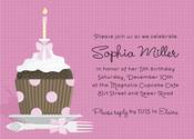 Product Image For Pink Polka Dot Cupcake Invitation