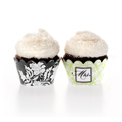 Product Image For Brocade Bridal Shower Partyware in Green - Cupcake Wraps