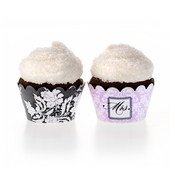 Product Image For Brocade Bridal Shower Partyware in Purple - Cupcake Wraps