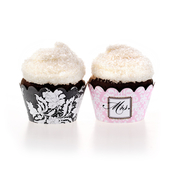 Product Image For Brocade Bridal Shower Partyware in Pink - Cupcake Wraps