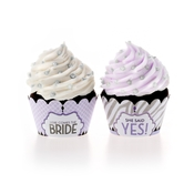 Product Image For Wishes & Whimsy Bridal Shower Partyware in Purple - Cupcake Wraps
