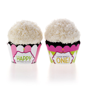 Product Image For Classic Carnival Birthday Partyware (Pink + Green) - Cupcake Wraps