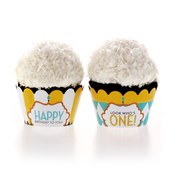 Product Image For Classic Carnival Birthday Partyware (Yellow + Blue) - Cupcake Wraps