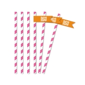 Product Image For Bold Baby Bliss Pink Partyware - Straw Flags