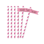 Product Image For Classic Chic Baby Pink Partyware - Straw Flags