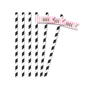 Product Image For Wishes + Whimsy Bridal Partyware in Pink - Straw Flags