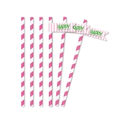 Product Image For Classic Carnival Birthday Partyware (Pink + Green) - Straw Flags