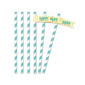 Product Image For Classic Carnival Birthday Partyware (Yellow + Blue) - Straw Flags