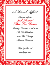 Product Image For Sophisticated Red and White Damask Laser Paper