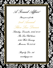 Product Image For Sophisticated Black and Gold Damask Laser Paper