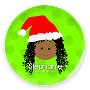 Product Image For Santa's Hat Cute Girl Plate