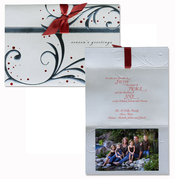 Product Image For Silver and Red Scroll Fold Over Attachable Photo Card