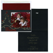 Product Image For Black Holiday Christmas Tree with Gold and Red Foil Foldover Photo Card