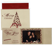 Product Image For Red Foiled Tree Foldover with Ribbon Attachable Photo Card