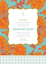 Product Image For Turquoise and Orange Brocade Invitation