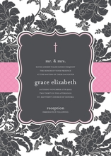 Product Image For Black and White Brocade - Hot Pink - Invitation