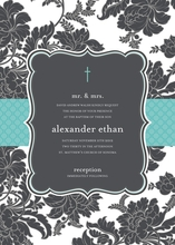 Product Image For Black and White Brocade -Turquoise - Invitation