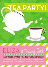 Product Image For Tea Party (Green and Pink) Invitation