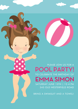 Product Image For Pool Party (Berry/Brunette Girl) Invitation