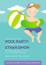 Product Image For Pool Party (Blue/Green Boy) Invitation