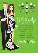Product Image For Cocktail Party Kelly Green (Brunette) Invitation