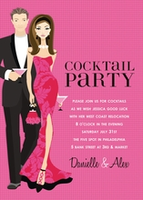 Product Image For Cocktail Party Hot Pink (Brunette) Invitation