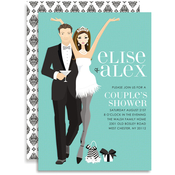 Product Image For Elegant Couple (Turquoise/Brunette) Invitation