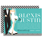 Product Image For Chic Couple (Turquoise) Invitation
